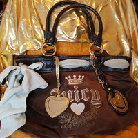 Juicy Couture Chocolate Brown Velour, Biege and  Gold Leather Tote Handbag
