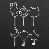 Jeteven Jewelry Frame Charm 6pcs Metal DIY Jewelry Pendant Key Chain Bracelet Necklace Making Finding Kit with Hanging Hole Silver