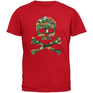 Skull And Crossbones Christmas Tree Cut Out Red Youth T-Shirt