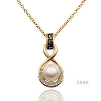 Gold Plated Pearl Elegant Necklace Fashion Pendant Jewelry Top Seller