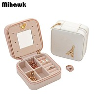 Women's Earring Jewelry Case With Makeup Mirror Lady's Necklace Ring Organizer Box Travel Cosmetic Bag Accessories Supplies