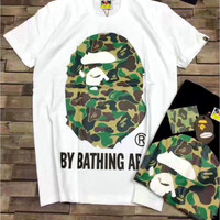 """BAPE"" Camouflage Print Casual Short Sleeve Shirt Top Tee Blouse G-A-XYCL"