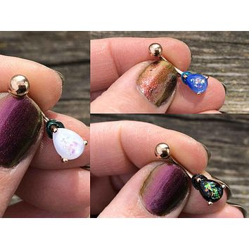 Opal Belly Ring Rose Gold White, Blue or Black Opal