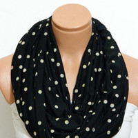Polka-dot scarves.. Black and vanilla polka-dot Infinity Scarf cotton fabric Loop Infinity Scarves. Circle Scarf ,Womens Accessories.