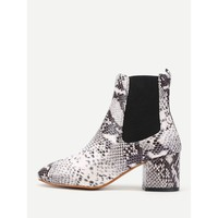 Snakeskin Print Elastic Ankle Boots