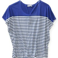 Colorblocked Striped Batwing Top