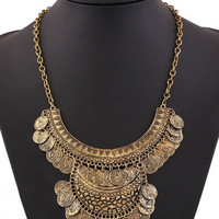 Golden Mixed Shape Geo Bib Coin Necklace