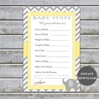 Baby Shower Games | Baby Stats Baby Shower Predictions Advice Cards | Elephant Gender Neutral Baby Shower Instant Download (87-2)