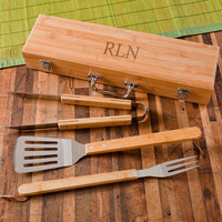 Personalized Grilling Set with Bamboo Case Free shipping - Grilling Tools - Grilling Set - Father's Day Gift - Groomsmen Gifts - GC1334