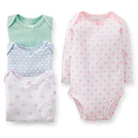 Carter's Girls 4 Pack Floral Printed Long Sleeve Bodysuits