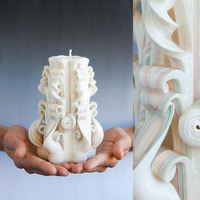 Carved candles - White candle