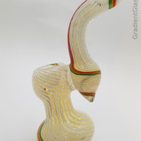 Designer White Twisted Rasta Glass Bubbler
