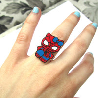 hello spidey ring, adjustable ring, kawaii jewelry, geek ring, geek jewelry, geek clothing, nerds