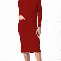 Indie XO Snow Bunny Burgundy Wine Red Long Sleeve Turtleneck Cable Knit Two Pocket Midi Sweater Dress - Just Ours!