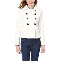 Allegra K Women's Doll Collar Double Breasted Long Sleeves Pea Coat