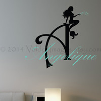 Mermaid monogram wall decal, wall words sticker, decal, wall graphic , vinyl graphic wall decal, typography,  vinyl decal, sticker, graphic