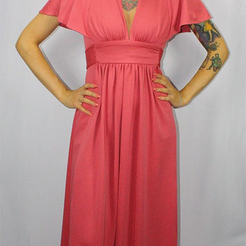 DANCING QUEEN Vintage 1970's Flowy Blush Pink Disco Dress