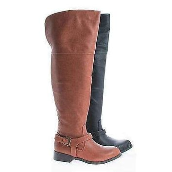 Ethan01 By Wild Diva, Round Toe Over Knee Ankle Harness Riding Boots