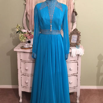 60s Beaded Chiffon Gown, Formal Dress, Electric Blue, Large XL, Elegant 1960s Dress, Hollywood Glam, Vintage Evening Dress, Womens Size 18