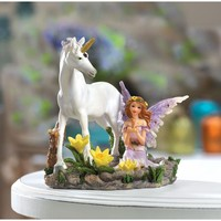 Fairy And Unicorn Statue Home Decor