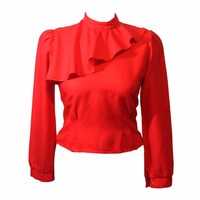 Vintage Red Ruffle Blouse Top Size Small ❤️❤️