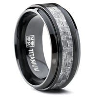 9MM Black Titanium Men's Wedding Band Ring with Wide Gray Carbon Fiber Inlay, Comfort Fit