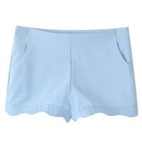 Blue Scallop Hem Shorts