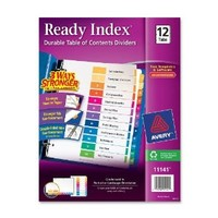 Avery Ready Index Table of Contents Dividers, 12-Tab Set, 1 Set (11141)