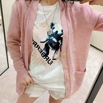 """"""" Gucci"""" Woman Casual Fashion Letter Solid Color BearPrinting Loose Large Size Short Sleeve T-Shirt Tops"""