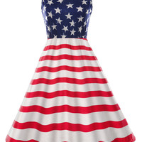 Stars and Stripes Flag Print Casual Dress