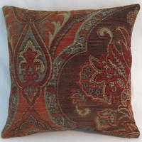 "Brown Blue Carpet Tapestry Pillow, Heavy Soft Chenille, 17"" Square, Rust & Denim, Southwest or Vintage Decor, Cover Only or Insert Included"