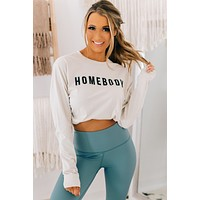 """Homebody"" Long Sleeve Graphic Top (Antique White)"