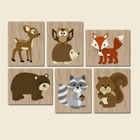 WOODLAND Wall Art, Woodland Nursery Decor, Woodland Baby Shower Canvas or Prints Wood Forest Animals, Forest Pals Wall Decor, Set of 6