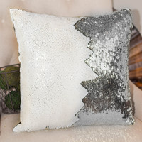 Champagne & Silver Reversible Sequin Mermaid Pillow