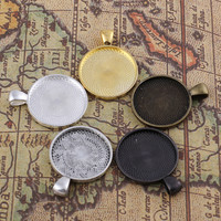 DIY Antiqued Bronze / Silver / Golden Vintage Alloy Round Cameo Cabochon Base Setting Pendant Tray 25*25mm Jewelry Blanks 25PCS