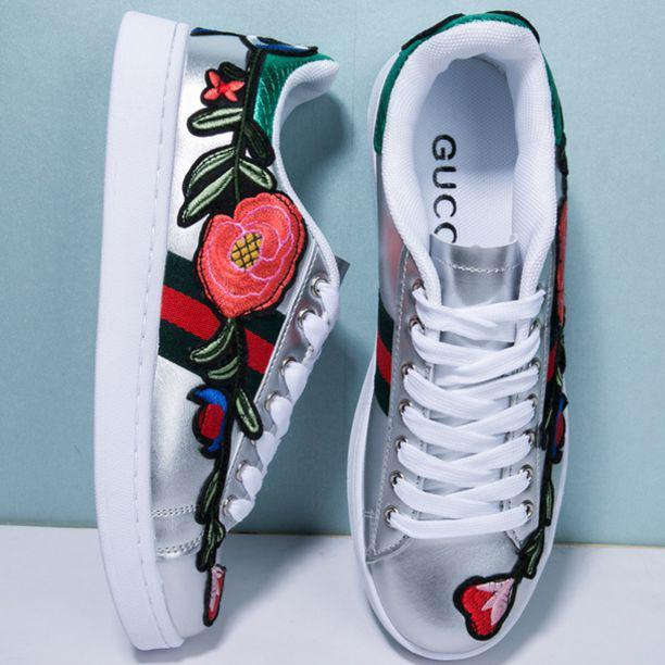 Image of G U C C I Fashion Flower Embroidery Old Skool Sneakers Sport Shoes