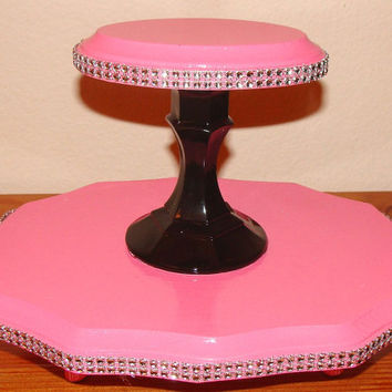 Free shipping, Hot Pink Cupcake stand, Candy stand, cupcake platter, wedding desert table, cupcake tower, Cake table, Bridal or baby shower