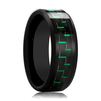 AMELL Black Ceramic Men's Wedding Band with Black and Green Carbon Fiber Inlay