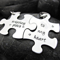 Missing Piece To My Heart - Couple's Keychains - Interlocking Puzzle Pieces