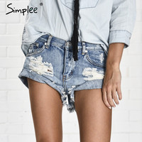 Simplee Apparel 50's Vintage ripped hole fringe blue denim shorts women Casual pocket jeans shorts 2016 summer girl hot shorts