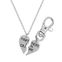 Lux Accessories PAWtners In Crime Partners Best Friends BFF Pendant Necklace Matching Dog Tag Collar Keychain.