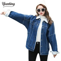 2017 Spring Fur Jean Denim Jacket Winter Blue Women Bomber Jacket Coat with Front Button Flap Pockets,Thicken Lovers Basic Coats