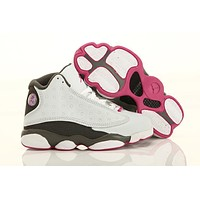 Nike Kids Air Jordan 13 Retro White Gray Pink Sneaker Shoe US 11C - 3Y