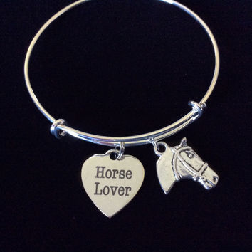 Horse Lover Expandable Charm Bracelet Handmade in USA Animal Wire Bangle Gift Trendy Stacking