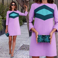 Color Contract 3/4 Sleeve Shift Dress