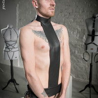 """Seductive leather male gay trans harness based on reversed cross fetish BDSM """"Crucified for HIM"""""""