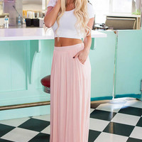Peach Pleated Maxi Skirt with Side Pockets