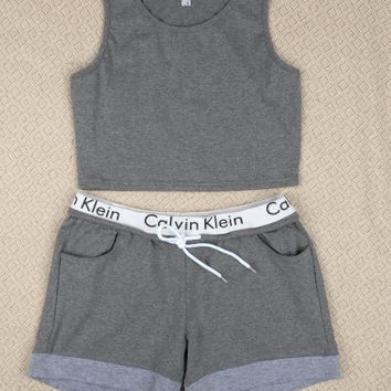 "[ Clearance Sale ] (2 pcs) "" CK Calvin Klein "" Letter Print Soft Cotton Sport Crop Top and Shorts"