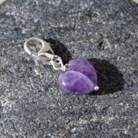 Tiny Amethyst Heart Charm, Sterling Silver Clip on Lobster Clasp, Genuine Gemstone, Handmade in Sweden
