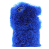 Cute Deep Blue Soft Fur Hard Cover Protective Case For Iphone 5
